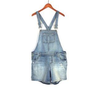 Torrid denim jeans distressed overall shorts sz 16